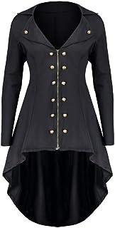 Shujin Damen Mantel Frack Jacke Gothic Gehrock Uniform Kostüm Party Outwear Karneval Zweireiher Mittellang mit Reverskragen Reißverschluss Mäntel Asymmetrisch Coat
