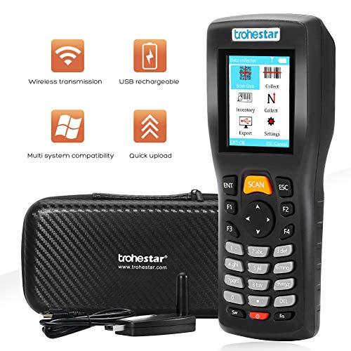 Scanner sans fil,Trohestar Lecteur de Code Barre sans fil 1D rechargeable avec Émetteur-récepteur RF de 2,4 GHz,4 Mo de mémoire,Portée 50-200m pour Entrepôt Supermarchés Magasins (N5)