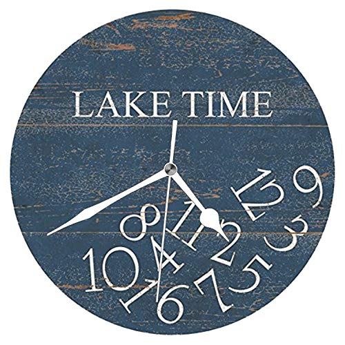 Dadidyc Lake Time Wooden Style Clock Wall Art Decorative Round Farmhouse Design Clock for Kitchen, Bedroom Kids Room 10 inches