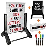 Swinging Changable Message Sidewalk Sign: 24' x 36' Sign with 792 Pre-Cut Double Sided Letters and Storage Box. Includes Bonus Black Sign Board & 4 Liquid Chalkboard & Letter Board