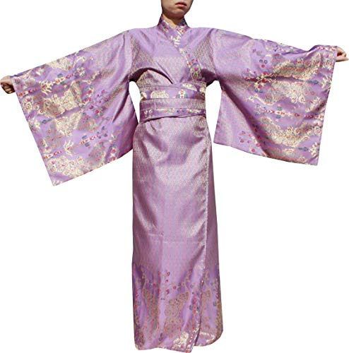 RaanPahMuang Full Kimono Dress Long Japanese Outfit in Woven Thai Silk Fabrics, X-Large, Peacock Violet