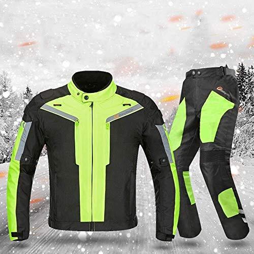 Hcxbb-10 waterdichte motorfiets-motor-jersey set - CE-uitrusting warm winddoorlatend Shatter Resistant Riding jas overhemd broek afneembaar warm katoen pak, grijs