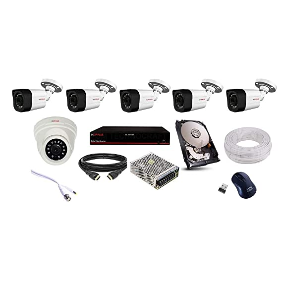 CP PLUS 5 Bullet 1 Dome (1.3MP), 8 Channel DVR, 8 Channel Power Supply, 1TB HDD, 90M Wire Bundle, Wireless Mouse with Full Combo KIT