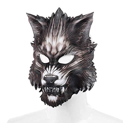 znwiem Halloween Wolfsmaske Karneval Weihnachten Party Cosplay Dekor für Herren Damen Kinder Kostüm - Wolf Form, 23 * 27CM