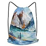 fudin Impermeable Bolsa de Cuerdas Saco de Gimnasio montañas nevadas valle montaña paisaje pintura Deporte Mochila para Playa Viaje Natación