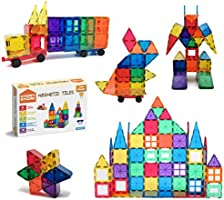 STEAM Studio Magnetic Tiles 120pcs Set Including Two Cars, Secured with Rivets, Clear Colours Building Blocks, Building...