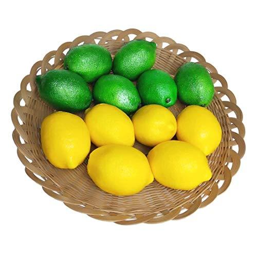 12個のPCの家の装飾のための人工的なレモンの偽造品のフルーツのレモン、人工的なフルーツのレモンのプロップ、二重色(6緑のレモン+6黄色いレモン)