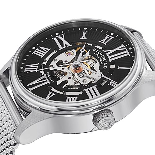 Stuhrling Original Atrium Elite Men's Automatic Watch with Black Dial Analogue Display and Silver...