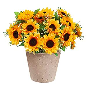 Leyaron 3 Bunches Artificial Flowers Silk Sunflowers Bouquet, Fake Yellow Sunflower Decor for Home Wedding Party Garden Office Table Centerpiece (21 Pcs Sunflowers Heads)