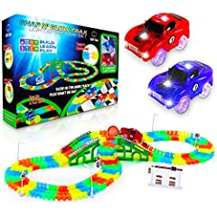 SNAP AND GO COMPLETE RACE CAR TRACK SET: Toddler race track set for kids includes 360 neon car tracks, 2 LED race car toys, 2 trax balls, 1 bridge, 2 slope frames, 1 intersection, and road signs STEM LEARNING: Colorful toddler race track STEM toy hel...