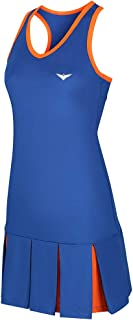 Girls Blue & Orange Tennis Dress; Pleated Tennis Dress; Junior Tennis Dress; Girls Golf Dress; Kids Golf Clothing; Girls Sportswear; Girls Netball Dress;