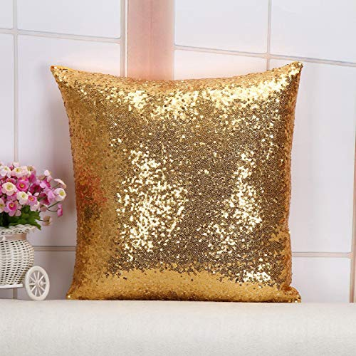 Sequin-Pillow Sequins PillowCover Glitter Throw Pillow Cover SequinPillowforGirls Pillowcase for Bedroom Sofa Couch Chair Back Seat Sequence Pillows Covers Cushion Case for Party (Gold)