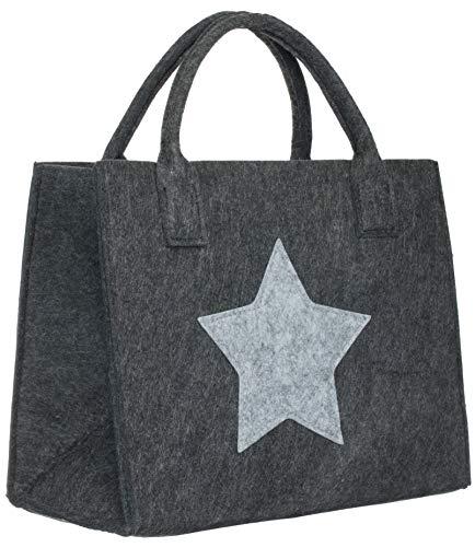 Brandsseller Bolsa de fieltro con estrella para la compra o el tiempo libre, 35 x 20 x 28 cm, antracita/gris claro