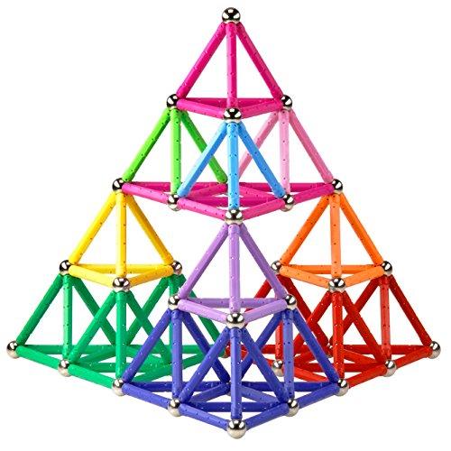 Elongdi Magnetic Building Blocks, [ 132 Pieces ] Lengthen Building Sticks Set, Magnet Stem Toys Set Non-Toxic Building 3D Puzzle Boys Toys for Kids Boys Girls 3, 4, 5, 6, 7, 8, 9 Years Old +