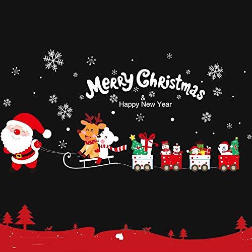 Vinilos de pared Y Pared Felicidad del Autoadhesivo de la decoración de Navidad Autoadhesivo del árbol de Navidad del adorno de la escena de la ventana de cristal Pegatinas