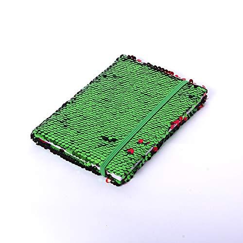 Ashwood Notizbuch mit Pailletten, zweifarbig, ca. 90 Seiten, Farbwechsel-Effekt, perfekt für Notizen, Kritzeln oder Zeichnen, tolles Geschenk für Kinder, mehrfarbig grün