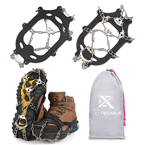 Extremus 23Spike Ice Cleats Crampons for Men or Women Abrasion Resistant 201 Stainless Steel 23 Individual Spikes On Each Foot Flexible Silicone Frame Tensioning Straps Storage Bag XL