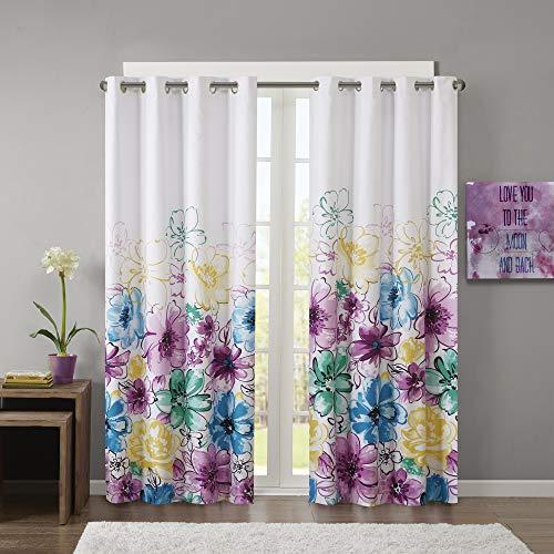 "Intelligent Design Olivia Blackout Bedroom, Casual Darkening Window Living Room, Floral Print Grommet Black Out Curtain, 1-Panel Pack, 84"", Blue"