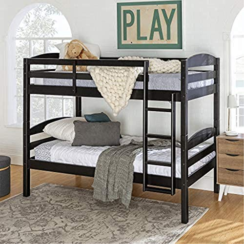 Walker Edison Della Classic Solid Wood Twin over Twin Bunk Bed, Twin over Twin, Black