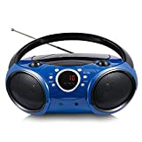 SINGING WOOD 030B Portable CD Player Boombox with Bluetooth for Home AM FM Stereo Radio, Aux Line in, Headphone Jack, Supported AC or Battery Powered (Starlight Blue)
