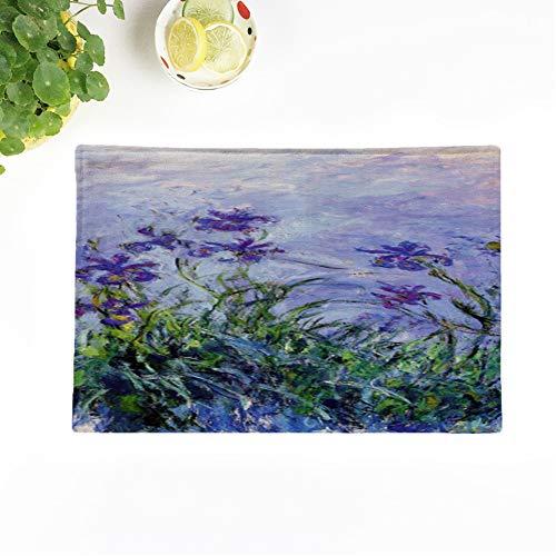 Topyee Set of 4 Placemats Iris Monet Lilac Irises Paintings Impressionist Flower 18x12.5 Inch