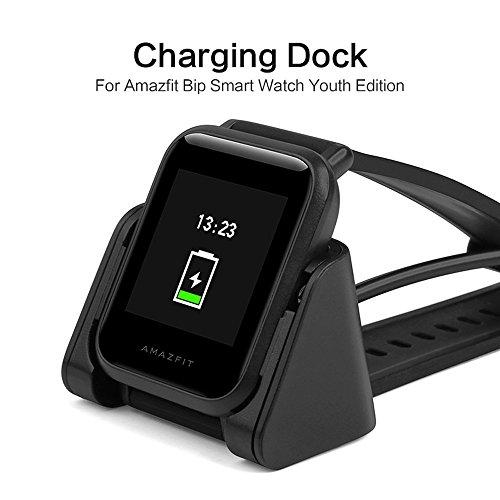 SIKAI USB Cable de Carga Reemplazo Cargador Compatible con Xiaomi Amazfit Bip Smartwatch Protable USB Cradle para Amazfit A1608 Recambios Cable de Carga Clip Dock de Muelle (Negro)