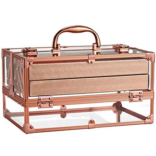 Frenessa Acrylic Beauty Makeup Box Cosmetic Train Case Portable 4 Tier Trays Jewelry Storage Organizer Makeup Display Case Rose Gold for Women and Girls