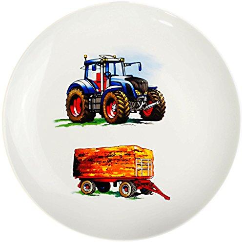alles-meine.de GmbH großer Teller - Kinderteller -  Traktor - Trecker mit Anhänger - Bauernhof  - Ø 21 cm - aus Porzellan / Keramik - Speiseteller / Frühstücksteller / Eßteller..