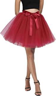 Women's High Waist Princess Tulle Skirt Adult A-line Dance Tutu Wedding Short Party Prom Skirt