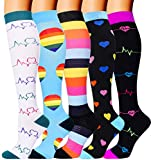5 Pairs Compression Socks for Women Men 20-30mmhg Knee High Stocking for Sports