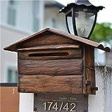 XCXDX Shabby Wasserdichter Briefkasten Aus Massivem Holz, Wandmontierter Briefkasten, Vintage-Dekor Im Freien