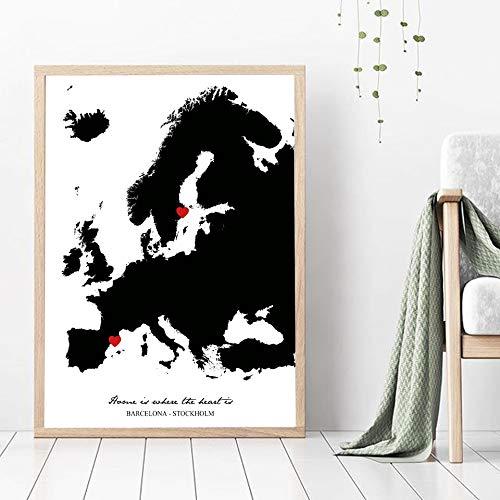 Europa City Map Poster Prints Barcelona Stockholm Wall Art Pictures Voor Home Office Room Decoratieve Moderne Zwarte Canvas Schilderij C 50x75cm Geen frame