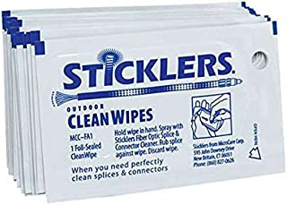 Sticklers CleanWipes Single-Use Fiber Optic Wipe for EOM Installs and OSP Environments, 50 per Bag