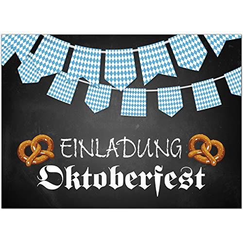 15 Einladungen zum Oktoberfest 2020 / Format DIN A6, 2-seitig/Tafel-Look mit Banner Bayrisch blau weiss/Einladungs-Karten zum Oktober-Fest mit Umschlägen/Garten Party