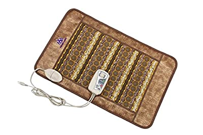 "Amethyst Tourmaline Jade Far Infrared Pad - 32""L x 20""W Flexible - FIR Heating 86°-158°F - Negative Ions - FDA Registered Manufacturer - Natural Hot Stones - MediCrystal® Medium Mat for Back Health"