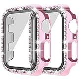 Snowki Lot de 2 coques pour Apple Watch avec protection d'écran en verre trempé pour iWatch 42 mm Série 3/2/1 Bling Crystal Diamond Rhinestone Bumper Coque de protection complète pour femmes filles Rose