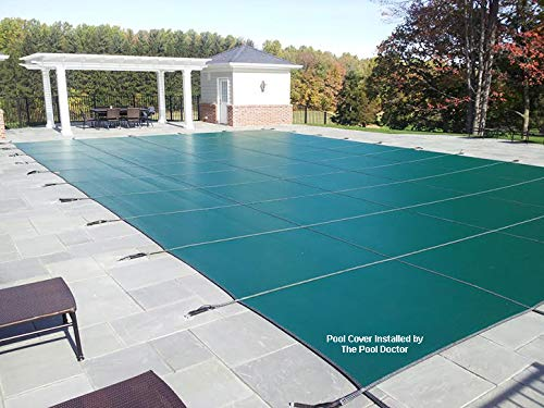 of mesh pool covers Swimming Pool Winter Cover - LOOP-LOC Mesh Safety Cover - 16 ft X 32 ft W/ 3 ft X 8 ft CENTER STEP