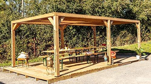 Habrita Pergola Grandes Dimensions en Bois Massif traité - Toit en ventelles Mobiles - 341 x 614 cm