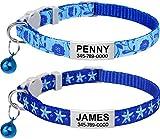 TagME Collar de Gato Personalizado, con Placa de Identificación Personalizable y Hebilla de Liberación Rápida, Collar de Gato Ajustable, Apto para Gatos y Cachorros, Dos Piezas, Azul