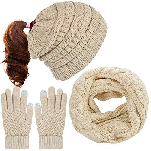 Yuson Girl Cappello Donna Invernale Berretti e Sciarpe Cappelli Invernali Guanti Invernali Guanti Touch Screen Invernali Winter Set Sciarpa 3 Pezzi