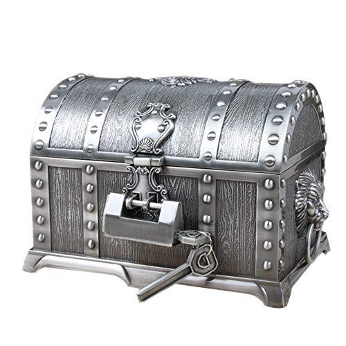 HM&DX Retro Cerradura Caja joyero Organizador, 2 Capas Metálico 100% Antiguas Caja del Tesoro Joyería Caja de Almacenamiento para Aretes Anillos Collares Pulseras-C XL