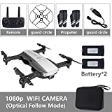 Metermall Quadricoptère Pliable RC Drone x Pro 5G Selfie WiFi FPV avec 4K HD Double caméra Paquet Double Batterie Noire 1080P