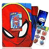 Spiderman Beach Towel Bundle ~ Microfiber Spiderman Beach Towels for Boys Girls 27 x 54 Inches   Spiderman Pool Towel with Spiderman Tattoos and More (Spiderman Beach Accessories)