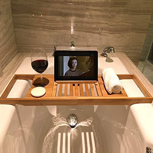 YAMMY Bambus Badewanne Caddie Tablett, Badezimmer Spa-Badewanne Badewanne Regal Einstellbare Lesegestell Handyschale Und Weinglashalter Stehen