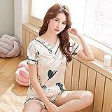 MLDSJQJ Ropa de Dormir para Mujer Pijamas de Verano Cuello en V Estampado de Seda Conjunto de Ropa de Dormir para Mujeres Dulces Camisón para niña Pantalón Corto Conjuntos de p,XQ815-2 BAI,XL