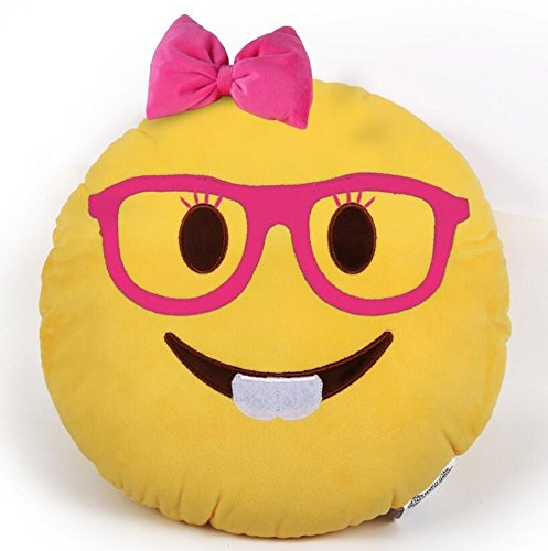 "PLUSH & PLUSH TM 12"" Inch / 30cm Large Emoji Pillows Smiley Emoticon Soft Plush Stuffed Yellow Roundy Full Collection (USA SELLER) (NERD GIRL)"