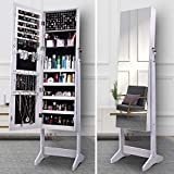 ORAF Jewelry Organizer, Jewelry Armoire Cabinet Standing Jewelry box with Full body Mirror and Large Storage Lockable Wooden Cabinet (White, 47'' Mirror, Regular)…
