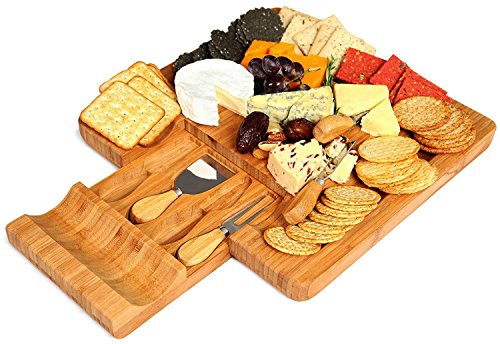 Cheese Board and Knife Set - Bamboo Serving Tray with Knives & Slate Labels - Large Wooden Meat Cheese Crackers...