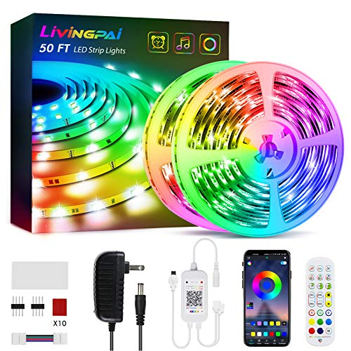 50ft Led Strip Lights, Livingpai Color Changing LED Light Strips with Music Sync, Remote, Built-in Mic, Bluetooth App Control, RGB LED Lights for Bedroom, Party, Kitchen, TV, Home