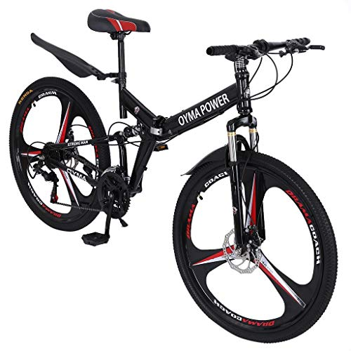 U.S. Shipping Mountain Bike with Dual Disc Brakes, 26 Inch 21-Speed Adult Bicycle Full Suspension MTB Lightweight Bikes for Men and Women Outdoor Racing Cycling (26in)